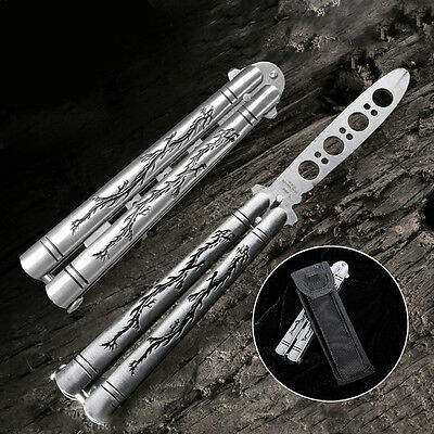 Practice Balisong Butterfly Metal Trainer Knife with Sheath US Shipping