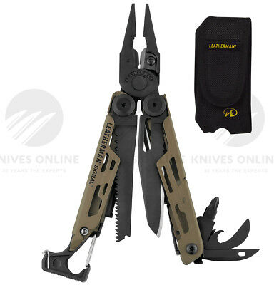 Leatherman Signal Coyote Survivalist Stainless Steel Multitool + Sheath W/ Fire