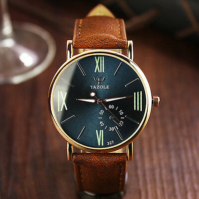 Men's Date Leather Stainless Steel Fashion Noctilucent Sport Quartz Wrist Watch