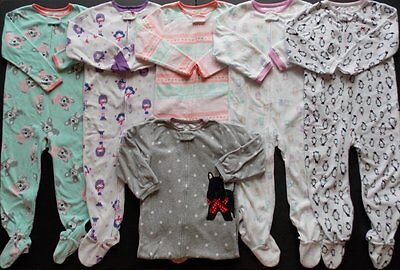 Girls Size 5T Fall Winter Fleece Footed Pajama Sleepers Lot!