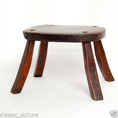 Oak Hand Crafted Child's Stool Genuine Antique c.1750 6in H