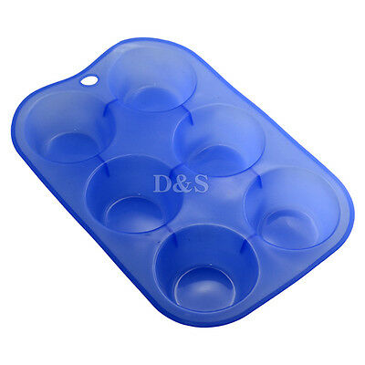 D6cm 6CAV Pudding Puff Muffin Cupcake Pastry Silicone Mold Pan Tray Bakeware New