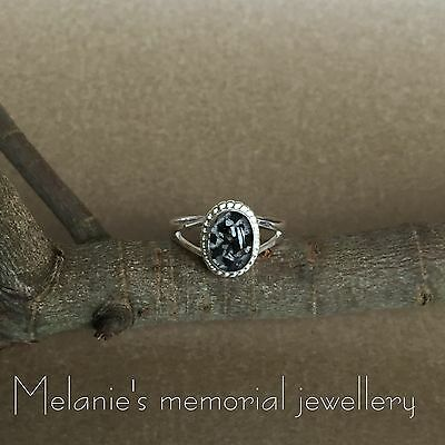 Handmade Bespoke Personalised Cremains Ashes Or Hair Ring. Urn. Sterling Silver