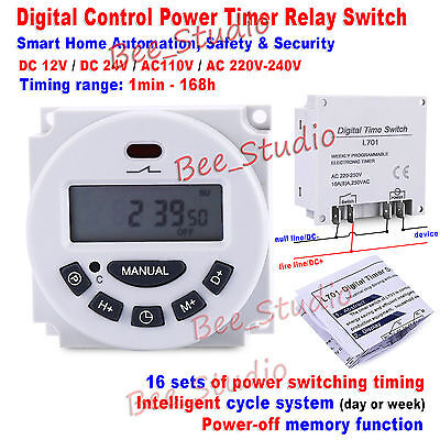 Digital Programmable Wite LCD Clock Timer Relay Switch Delay Time Cycle Module