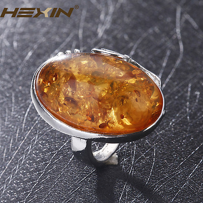 Antique Silver Amber Ring Charms Gorgeous Vintage Baltic Like  Jewelry Size 10