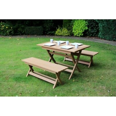 Brown Castlebay Winawood Dining Set Teak Color Table + 2 Benches.