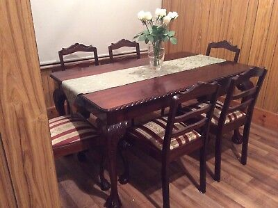 Antique Chippendale Dining Setting Table Plus 6 Chairs