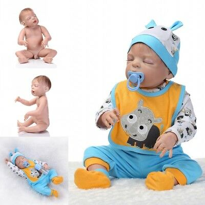 "20""Handmade Full Silicone Body Baby Dolls Newborn Vinyl Reborn Lovely Boy Doll"