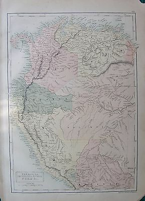 1860 Ca ANTIQUE MAP- SOUTH AMERICA-VENEZUELA,,NEW GRANADA,EQUADOR,PERU &c