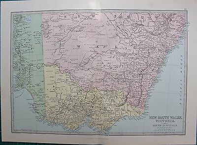 1886 Antique Map- New South Wales, Victoria & Part Of South Australia