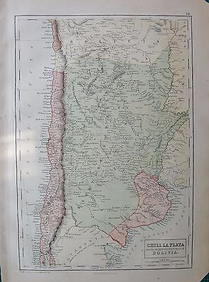 1860 Ca ANTIQUE MAP- SOUTH AMERICA-CHILE,LA PLATA OR ARGENTINE REPUBLIC,BOLIVIA