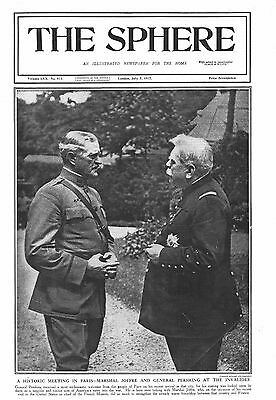 1917 Antique Print - Ww1- Marshal Joffre And General Pershing