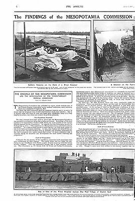 1917 Antique Print - Ww1- Findings Of The Mesopotamia Commission-Medical Service