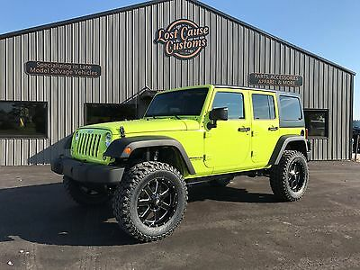 2016 Jeep Wrangler SPORT 2016 JEEP WRANGLER UNLIMITED REBUILT PRIOR SALVAGE HYPER GREEN SAHARA RUBICON