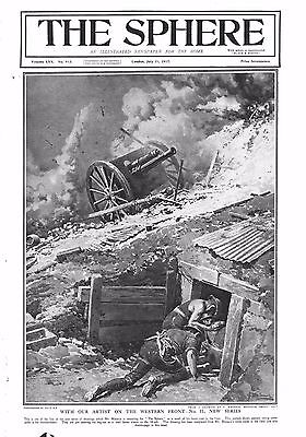 1917 Antique Print - Ww1- Gunners Taking Cover Under Bombardment