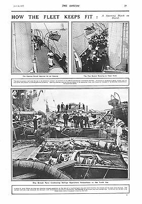 1917 Antique Print - Ww1- How The Fleet Keeps Fit/salvage Operations, 2 Images