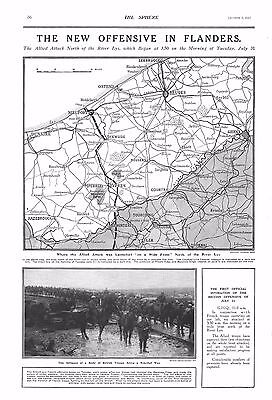 1917 Antique Print - Ww1- The New Offensive In Flanders-Map And Text