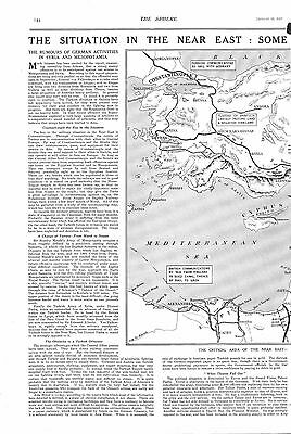 1917 Antique Print - Ww1- Situation In The Near East, Mesopotamia,arabia, Map