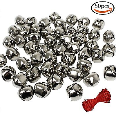 Whonline 1 Inch Silver Christmas Bells (50 Pack) for Craft or Decoration & 20...