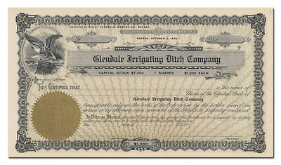 Glendale Irrigating Ditch Company Stock Certificate
