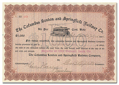 Columbus, London and Springfield Railway Company Stock Certificate