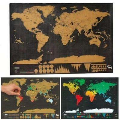 Travel Edition Scratch Off Deluxe World Map Poster Personalized Journal Log Gift