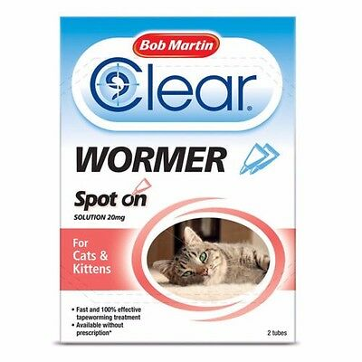 Bob Martin Clear Wormer Spot on Solution 2 x Tubes For Cats & Kittens