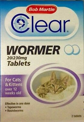 Bob Martin Clear Wormer Tablets for Cat & Kitten Wormer Treatment Over 12 weeks