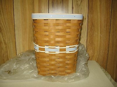 Longaberger Team Spirit Small Waste Basket Light Blue/white With Protector