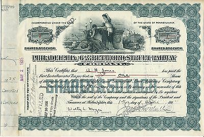 Philadelphia & Garrettford Street Railway Stock Cert #7 ISSUED     Red Arrow PTC