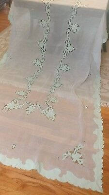 "Vintage  ornamental Madeira cut out embroidery tablecloth 126""x 62"""