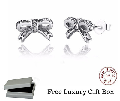 925 solid SILVER STERLING PAIR OF SPARKLING DELICATE BOW STUDS+ gift pouch
