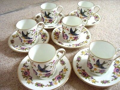 Aynsley bone china England porcelain cup and saucer,set of 6,Capistrano