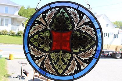 Victorian Antique Painted And Fired Leaded Glass Window Round Stained Glass