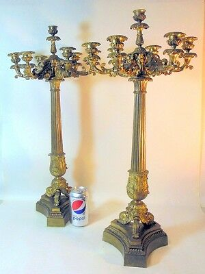 Antique Pr Bronze Classical Candelabra Candleholders French Empire Napoleon
