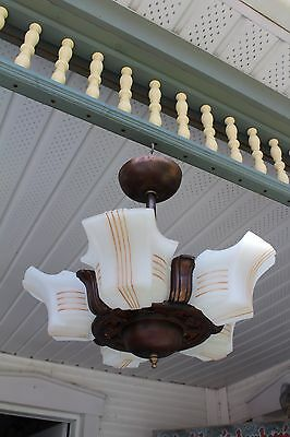 Antique   Art Deco Slip Shade Ceiling Light Fixture Chandelier ,  5 Shades, Mica