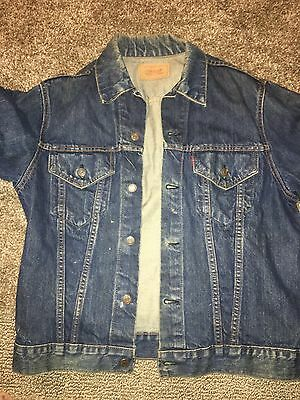 Levi's Vtg BIG E Jean Denim Trucker Jacket Dark Wash 524 Buttons Sz 38 40 Small