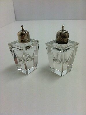 Vintage Rarely ELEGANT SMALL CRYSTAL Glass Sterling SILVER SALT & PEPPER SHAKERS