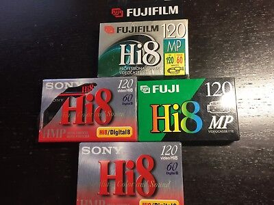 Lot of 4 Sony FujiFilm Hi8 Digital8 Blank Cassettes Brand New Sealed NOS 120HMP