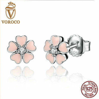 VOROCO Cherry Blossoms S925 Sterling Silver Ear Stud Earrings With CZ Jewellry