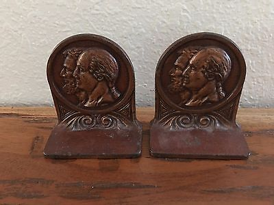 Vintage Copper Cast Metal Lincoln Washing Bookends
