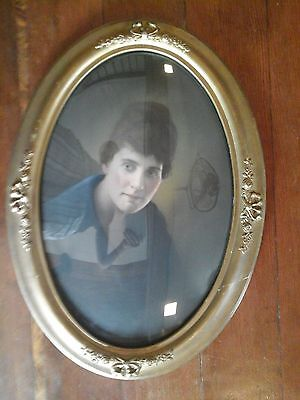Antique Oval Ornate Professionally Framed Picture Bubbled Glass Hangwire & Clips