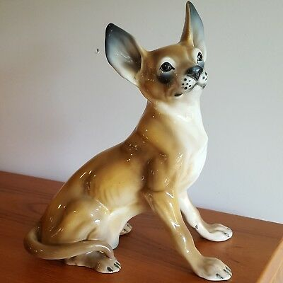 """RONZAN Porcelain Chihuahua Dog Figurine 11.75"""" Tall Italy Vintage Life Size Cute"""