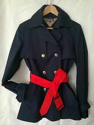 New Tommy Hilfiger women's trench mac coat Size S RRP£284.99 navy blue