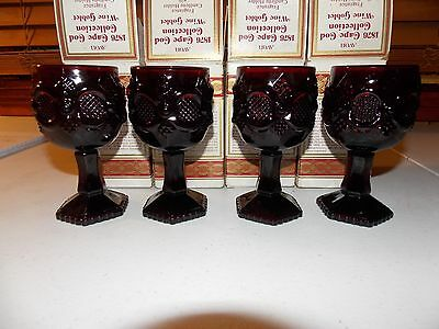Vintage Avon 1876 Ruby Red Cape Cod Collection Wine Goblets (4) IN BOX CANDLE