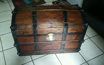 1800's Antique  Steamer Trunk Chest dome top