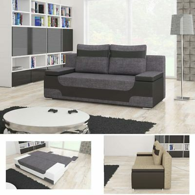 sofa grau schlafsofa couch schlafcouch bettsofa bett wohnzimmer polyester eur 339 00 picclick at. Black Bedroom Furniture Sets. Home Design Ideas