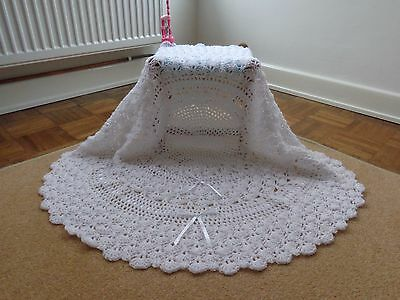 "White Hand Crochet Baby Shawl 38"" Circular 2 Rows Ribbon New Christening Blanket"
