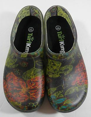 Women's Turf King Sloggers Size 7 Outdoor Garden Clog Floral/black Usa