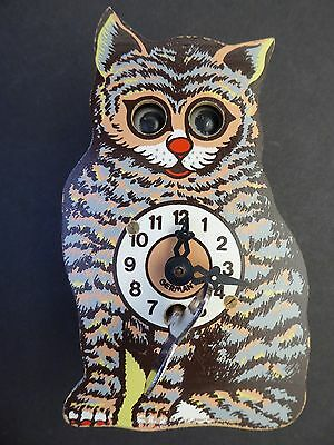 Wood Cat Clock Moving Eyes Germany with Key...Great Graphics!